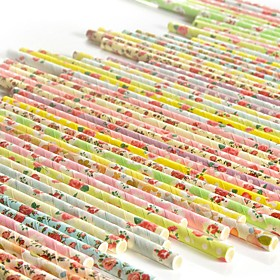 25pcs/lot Vintage Retro Floral Paper Straws Biodegradable Drinking Paper Straws for Christmas Decoration Wedding Events 6117789