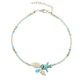 Women's Beads Anklet Gray Pearl Flower Star