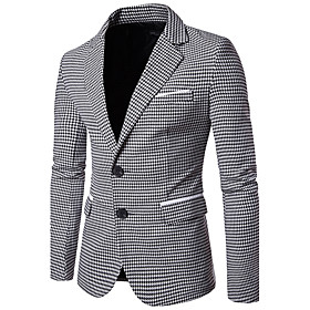Men's Work Business / Vintage Fall Regular Blazer, Houndstooth Peaked Lapel Long Sleeve Cotton Green / Black L / XL / XXL / Business Casual / Slim