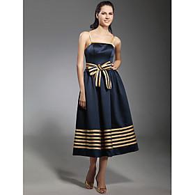 A-Line Princess Spaghetti Straps Tea Length Stretch Satin Cocktail Party Dress with Bow(s) Sash / Ribbon by TS Couture plus size,  plus size fashion plus size appare