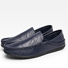 Men's Driving Shoes Canvas Spring / Fall Loafers  Slip-Ons Black / Brown / Blue