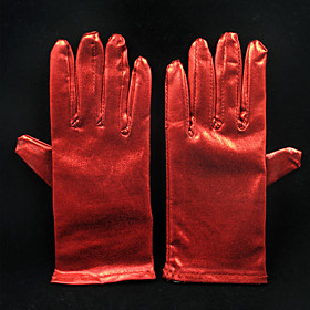 Image of Wrist Length Fingertips Glove Faux Leather Bridal Gloves All Seasons Pleated