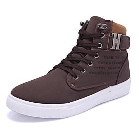 Men's Comfort Shoes PU(Polyurethane) Spring / Fall Sneakers Walking Shoes Green / Black / White / Khaki / Outdoor / Light Soles