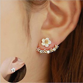 Women's Crystal Stud Earrings Front Back Earrings / Ear Jacket - Sterling Silver, Crystal, S925 Sterling Silver Flower, Daisy Elegant Gold / Silver / Rose Gold