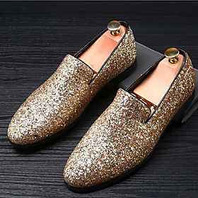 Men's Moccasin Glitter Summer / Fall British Loafers  Slip-Ons Gold / Black / Silver / Sparkling Glitter / Wedding / Party  Evening / Wedding / Party  Evening