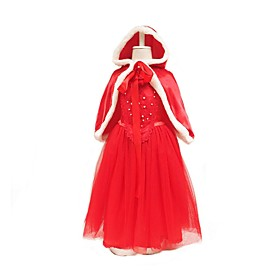 Princess Little Red Riding Hood Cosplay Costume Masquerade Girls' Kid's Halloween Carnival Children's Day Festival / Holiday Outfits Red / Blue Solid Color Cut