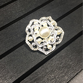 Women's Girls' Brooches Roses Flower Brooch Jewelry Silver For Wedding Party..