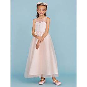 75023c76ed A-Line / Princess Ankle Length Flower Girl Dress - Lace / Tulle Sleeveless  Jewel