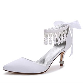 Women's Satin Spring / Summer Comfort / D'Orsay  Two-Piece / Basic Pump Wedding Shoes Kitten Heel / Cone Heel / Low Heel Pointed Toe Pearl / Imitation Pearl /