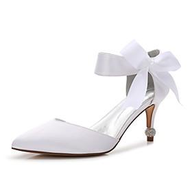 Women's Satin Spring / Summer Comfort / D'Orsay  Two-Piece / Basic Pump Wedding Shoes Kitten Heel / Cone Heel / Low Heel Pointed Toe Bowknot / Satin Flower / L