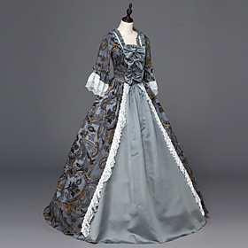 Rococo / Victorian Costume Women's Dress / Party Costume / Masquerade Gray Vintage Cosplay Satin Long Sleeve Floor Length 6001966