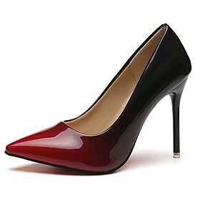 Women's PU(Polyurethane) Fall Basic Pump Heels Stiletto Heel Pointed Toe Gray / Red / 2-3