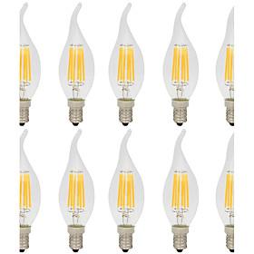 10pcs 6W 560lm E14 LED Filament Bulbs C35L 6 LED Beads COB Decorative Warm White / Cold White 220 240V / 10 pcs / RoHS