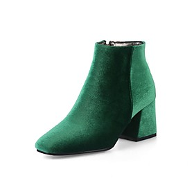 Women's Shoes Velvet Spring / Fall Comfort / Fashion Boots Boots Chunky Heel Square Toe Booties / Ankle Boots Zipper Green / Wine / Almond