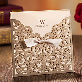 Wrap Pocket Wedding Invitations 20 - Invitation Cards Classic Style Embossed Paper