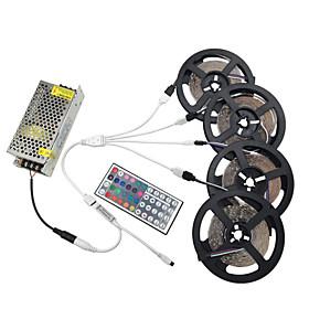 20m Ensemble De Luminaires 1200 Led 3528 Smd Rvb Decoupable / Intensite Reglable / Connectible 100 240 V 1pc / Auto Adhesives / Couleurs Changeantes