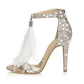 Women's Shoes PU(Polyurethane) Spring / Fall Comfort / Novelty Sandals Stiletto Heel Open Toe Rhinestone / Zipper / Tassel Almond / Wedding / Party  Evening /