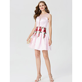 A-Line Princess Jewel Neck Short / Mini Satin Cocktail Party Dress with Appliques Pleats by TS Couture 6189863