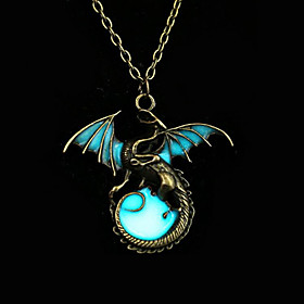 Women's Luminous Stone Pendant Necklace - Dragon,