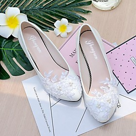 Women's Shoes Lace / Leatherette Spring / Fall Slingback Wedding Shoes Cone Heel / Low Heel Pointed Toe / Round Toe Imitation Pearl /