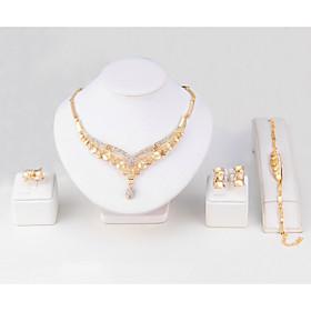 Women's Synthetic Diamond Jewelry Set Gold Plated Leaf Classic, Simple Style..