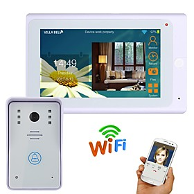720P 7 TFT Wired / Wireless Wifi IP Video Door Phone Doorbell Intercom System with 1000TVL Wired Camera Night Vision