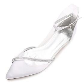 Women's Satin Spring / Summer Comfort / Ballerina / D'Orsay  Two-Piece Wedding Shoes Flat Heel Pointed Toe / Open Toe Rhinestone / Sparkling Glitter Blue / Cha
