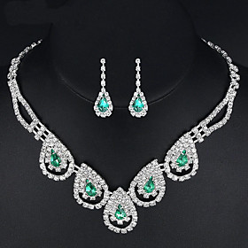 Women's Drop Earrings Necklace Synthetic Emerald AAA Cubic Zirconia Classic ..