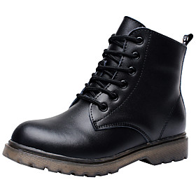 Boys' Shoes Leather Fall / Winter Comfort / Combat Boots Boots Lace-up for Black / Booties / Ankle Boots / TPR (Thermoplastic Rubber)