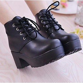 Women's Shoes Nappa Leather Winter Combat Boots Boots Chunky Heel Booties / Ankle Boots for White / Black 6290224