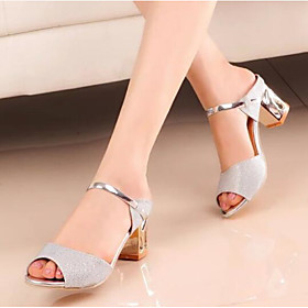 Women's Shoes Nubuck leather / Glitter Spring / Fall Basic Pump Sandals Block Heel Gold / Silver