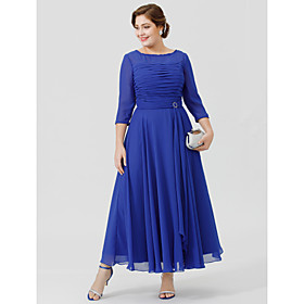 A-Line Bateau Neck Ankle-length Chiffon Georgette Mother of the Bride Dress ..