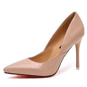 Women's Patent Leather Spring / Fall Basic Pump Heels Stiletto Heel Black / Almond / 3-4 / EU39