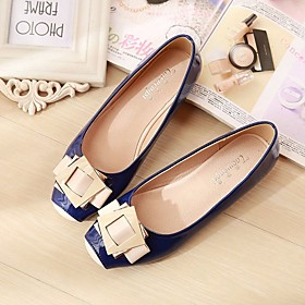 Women's Shoes Pigskin Spring / Fall Comfort Flats Flat Heel Square Toe Blue / Pink / Almond
