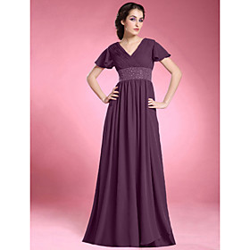 A-Line V Neck Floor Length Chiffon Mother of the Bride Dress with Beading Draping Criss Cross Ruching Pleats by LAN TING BRIDE plus size,  plus size fashion plus size appare