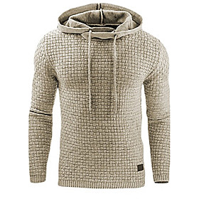 Men's Daily Sports Holiday Casual Oversized Solid Hooded Plus Size Hoodie Regular,Long Sleeve Winter Spring Fall Cotton Polyester 6306856