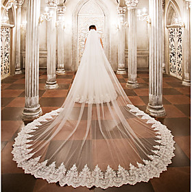 One-tier Wedding Veil Cathedral Veils with Appliques Lace / Tulle / Angel cut / Waterfall