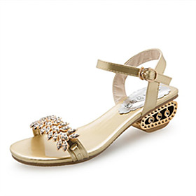 Women's Shoes PU(Polyurethane) Spring / Summer Comfort / Gladiator Sandals Flat Heel Open Toe Rhinestone / Imitation Pearl / Buckle Gold