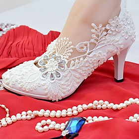 Women's Shoes Lace Leatherette Spring Fall Comfort Wedding Shoes Round Toe Rhinestone Imitation Pearl Appliques for Wedding Party