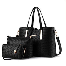 Women's Bags PU(Polyurethane) Bag Set 3 Pcs Purse Set Zipper Black / Silver / Wine