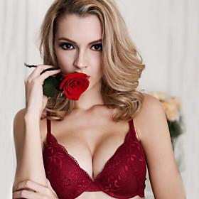Women's Solid Jacquard 3/4 Cup Bras  Panties Sets Push-up Underwire Bra,Cotton Rayon Black Red Beige Wine Khaki 6408106