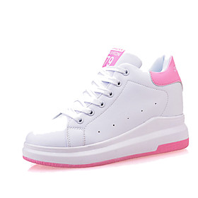 Women's Leather Spring / Fall Creepers Sneakers Walking Shoes Wedge Heel Round Toe Lace-up White / Black / Pink / EU39