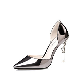 Women's Patent Leather Spring / Summer Club Shoes Heels Walking Shoes Stiletto Heel Dark Grey / Silver / Pink / Wedding / Party  Evening / Dress / 3-4 / Party