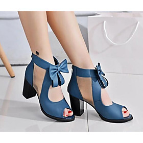 Women's Nubuck leather Spring / Fall Basic Pump Sandals Bowknot Black / Blue