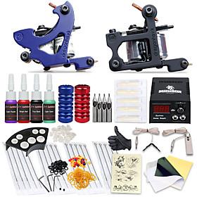 Professional Tattoo Kit 2 Machines Complete Tattoo Kit Machine Guns LCD Tattoo Power Supply 3071580