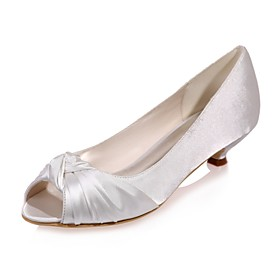 Women's Satin Spring / Summer Basic Pump Wedding Shoes Kitten Heel Peep Toe Blue / Champagne / Ivory / Party  Evening