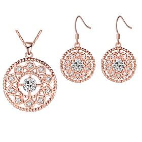 Women's Drop Earrings Pendant Necklaces Cubic Zirconia Rhinestone Vintage El..