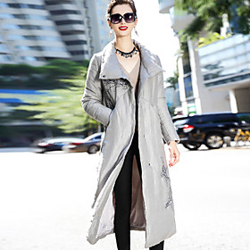 Image of Women's Long Down Coat,Simple Chinoiserie Wear to work Casual/Daily Solid Vintage-Linen Long Sleeves
