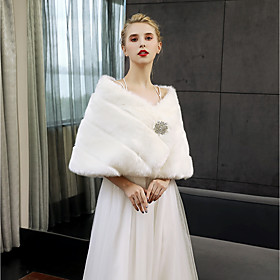 Sleeveless Faux Fur Wedding Party / Evening Women's Wrap With Crystal Brooch..