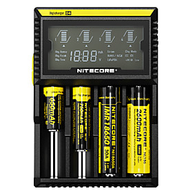 Nitecore D4 Battery Charger Smart Integrated LCD Panel Displays for Li-ion, Ni-Cd, Ni-MH Protected Circuit, Short Circuit Protection, Over Charging Protection